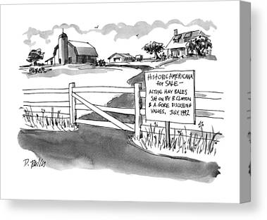 Hay Bales Drawings Canvas Prints