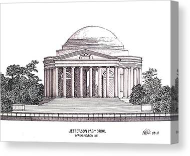 Famous Buildings Drawings Drawings Canvas Prints