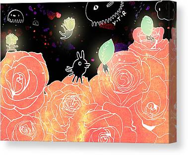 Flower Pink Fairy Child Mixed Media Canvas Prints