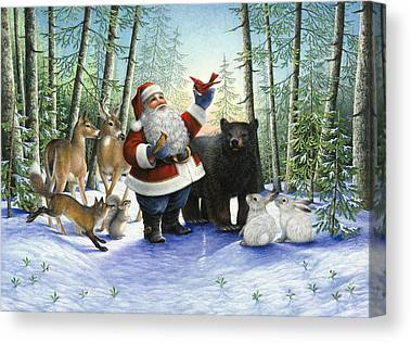 Christmas Squirrel Canvas Prints