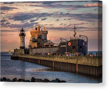 Duluth Canal Park Canal Park Lighthouse Lighthouse Lake Superior Minnesota Canvas Prints