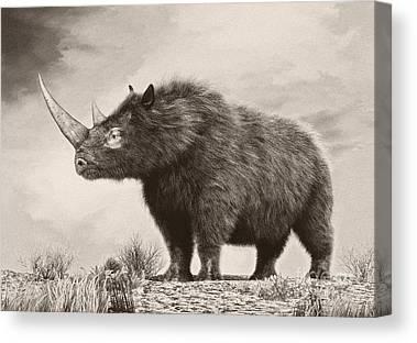 One Horned Rhino Digital Art Canvas Prints