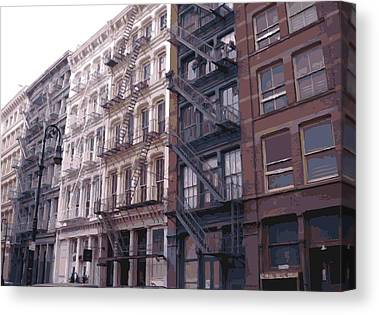 Row House Fire Escapes In New York Canvas Prints