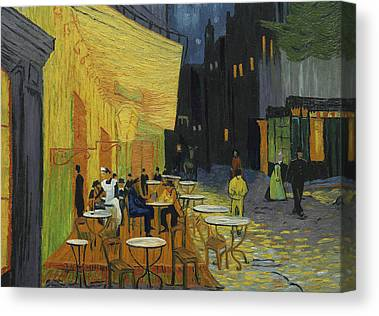 Cafes At Night Canvas Prints