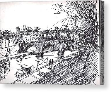 River Drawings Canvas Prints
