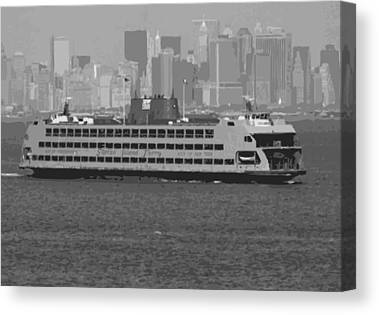 Ferry In New York Canvas Prints