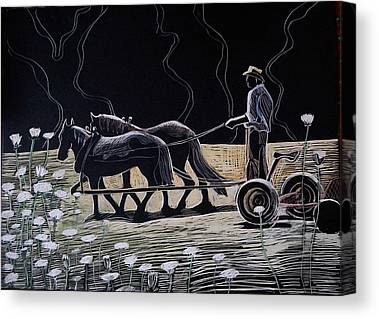 Team Or Horses Drawings Canvas Prints