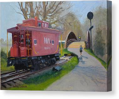 Old Caboose Paintings Canvas Prints