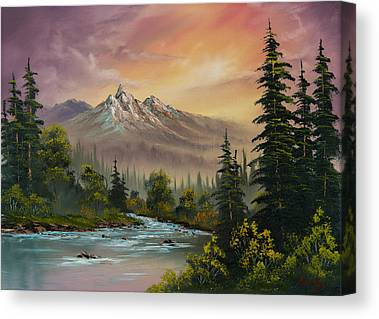 Sawtooth Mountain Paintings Canvas Prints