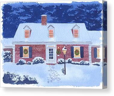 New England Snow Scene Canvas Prints