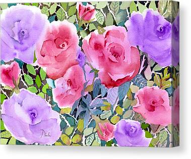 Pinks And Purple Petals Paintings Canvas Prints