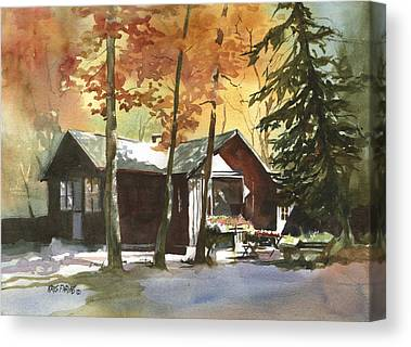 Log Cabin Paintings Canvas Prints