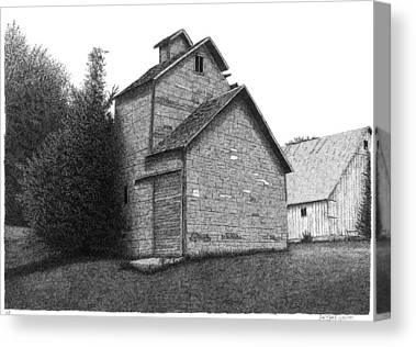 Old Mill Scenes Drawings Canvas Prints