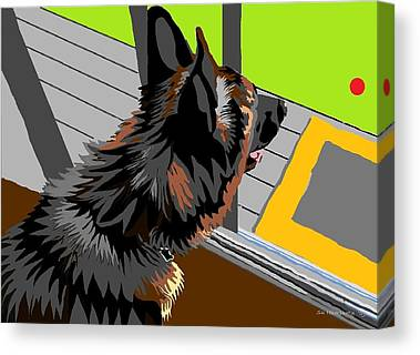 Dog At Door Digital Art Canvas Prints