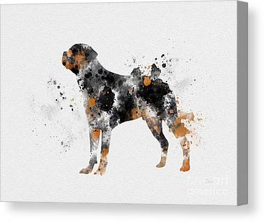 Mans Best Friend Mixed Media Canvas Prints