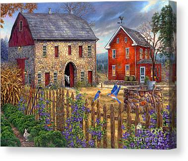 Charming Cottage Paintings Canvas Prints