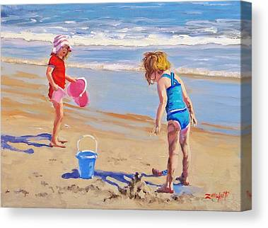Children Playing On Beach Canvas Prints