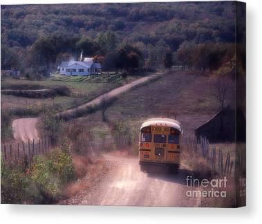 Rural School Bus Canvas Prints