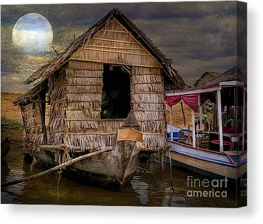 Bamboo House Digital Art Canvas Prints