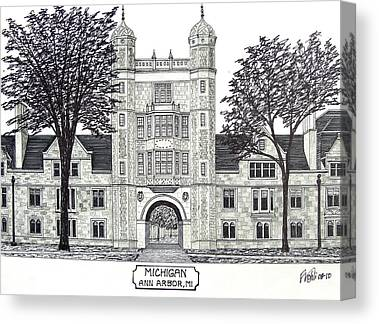 Michigan University Pen And Ink Building Drawing Canvas Prints