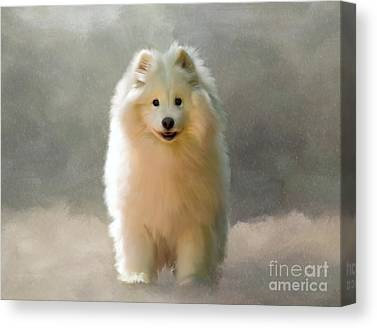 Dogs In Snow Digital Art Canvas Prints