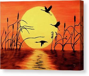 Geese Paintings Canvas Prints