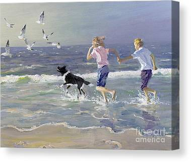 Dog On The Beach Paintings Canvas Prints