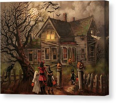 Haunted House Paintings Canvas Prints