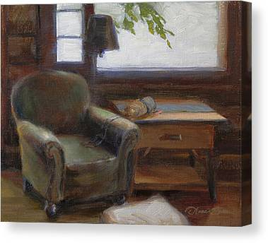 Log Cabin Interiors Paintings Canvas Prints