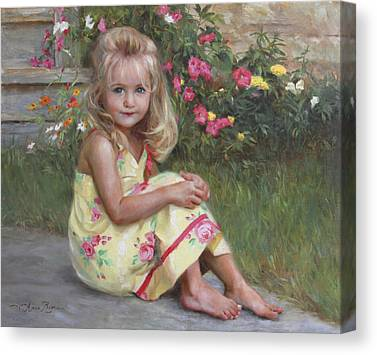 Child With Flowers Canvas Prints