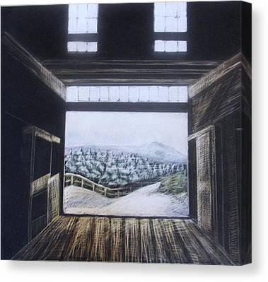 Maine Barns Drawings Canvas Prints
