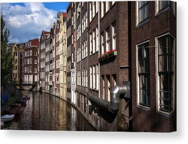 Amsterdam Houses on river Canvas Wall Art Picture Print