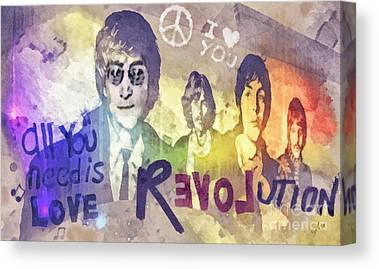 Rock N Roll George Harrison Canvas Prints