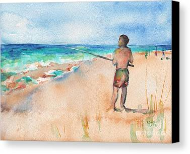 Designs Similar to Fishing At The Beach Watercolor