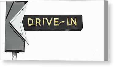 Drive-in Movie Paintings Canvas Prints