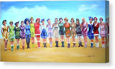 Colorful Array Of Women In Vintage Bathing Suits Canvas Prints