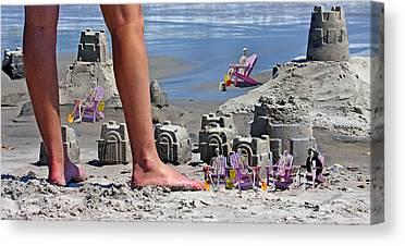 Sand Castles Digital Art Canvas Prints