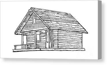 Log Cabins Drawings Canvas Prints
