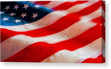 Old Glory Mixed Media Canvas Prints