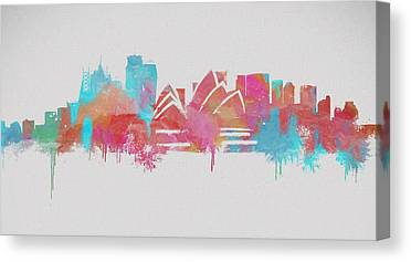 Sydney Skyline Mixed Media Canvas Prints