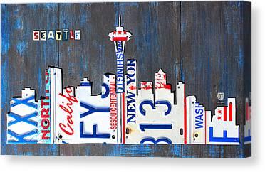 Seattle Skyline Mixed Media Canvas Prints
