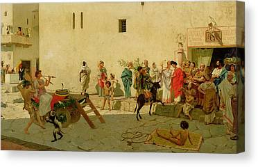 A Roman Street Scene With Musicians And A Performing Monkey Canvas Prints