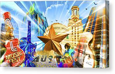Austin. Bats Canvas Prints