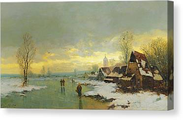 White River Scene Paintings Canvas Prints