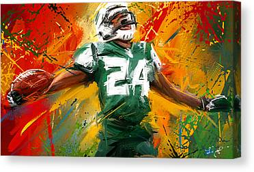 Running Back Paintings Canvas Prints