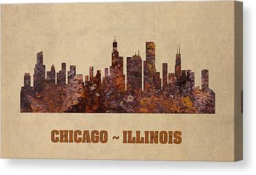 Chicago Skyline Mixed Media Canvas Prints