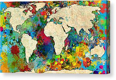 Map Of The World Paintings Canvas Prints