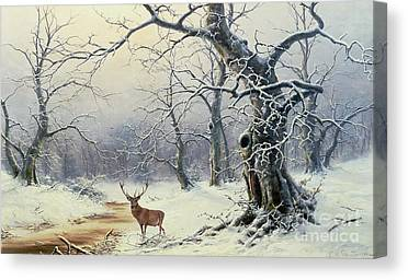 Trees In Snow Paintings Canvas Prints