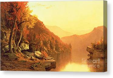 Autumn Leaf On Water Canvas Prints