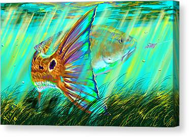 Spearfishing Canvas Prints